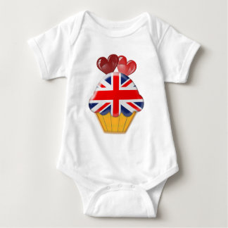 Union Jack Cupcake and Hearts Baby Bodysuit