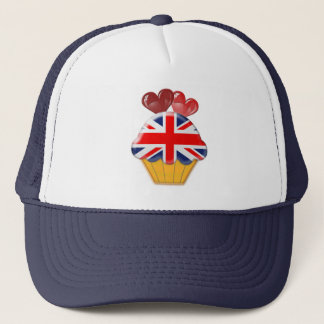 Union Jack Cupcake and Hearts Trucker Hat
