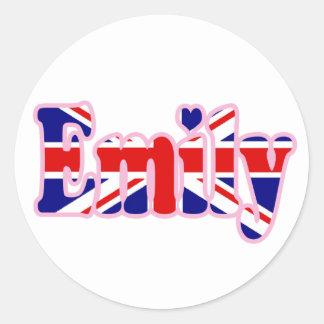 Union Jack cutout Emily Round Sticker