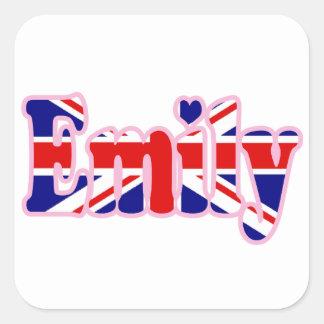 Union Jack cutout Emily Square Sticker
