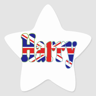 Union Jack cutout Harry Star Stickers