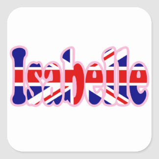 Union Jack cutout Isabelle Square Stickers