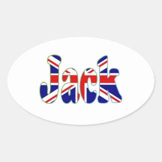 Union Jack cutout Jack Oval Sticker