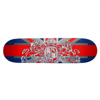 Union Jack Dieu et Mon Droit British Coat of Arms 20 Cm Skateboard Deck