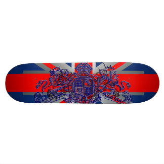 Union Jack Dieu et Mon Droit British Coat of Arms 21.6 Cm Skateboard Deck