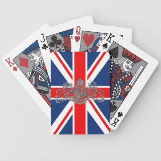 Union Jack Dieu et Mon Droit British Coat of Arms Bicycle Playing Cards