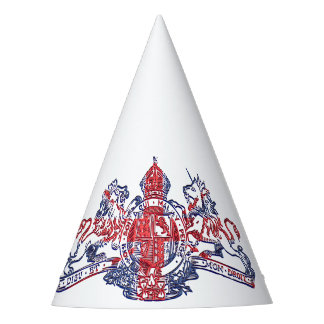 Union Jack Dieu et Mon Droit British Coat of Arms Party Hat