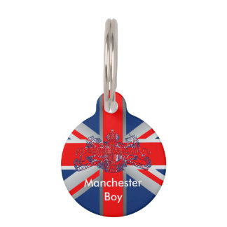 Union Jack Dieu et Mon Droit British Coat of Arms Pet ID Tag