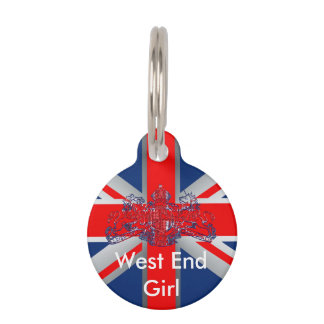 Union Jack Dieu et Mon Droit British Coat of Arms Pet Tag