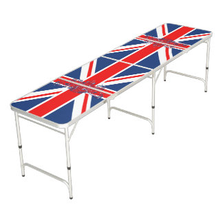 Union Jack Dieu et Mon Droit British Coat of Arms Pong Table