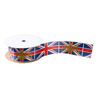 Union Jack Dieu et Mon Droit British Coat of Arms Satin Ribbon