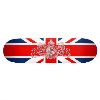 Union Jack Dieu et Mon Droit British Coat of Arms Skate Deck