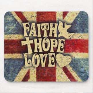 Union jack faith, love and hope distressed art. mouse pad