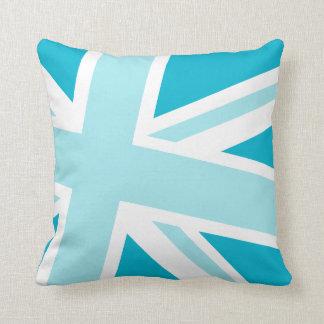 Union Jack Fashion Throw Pillow in Caribbean Blue