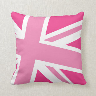 Union Jack Fashion Throw Pillow in Ice Pink