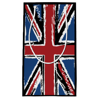 Union Jack Flag Abstract Scribble Small Gift Bag