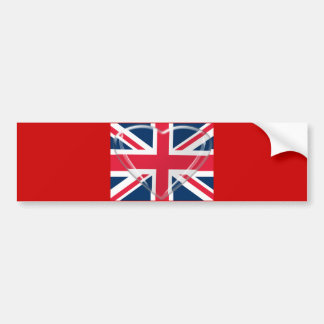 Union Jack Flag and Glass Heart Art Bumper Sticker
