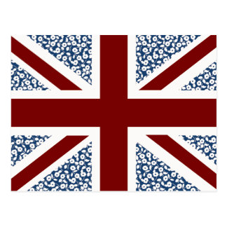 Union Jack Flag Calico Floral Pattern Postcard