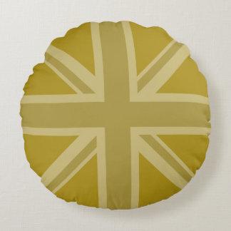 Union Jack/Flag Golds Round Cushion