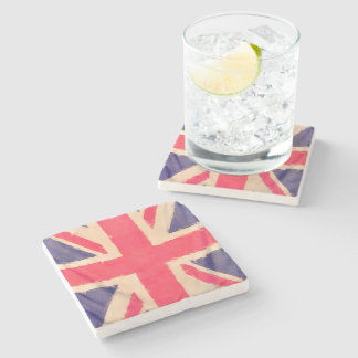 UNION JACK FLAG grunge Stone Coaster