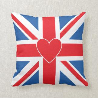 Union Jack Flag & Heart Cushion
