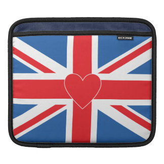 Union Jack Flag & Heart iPad Sleeve