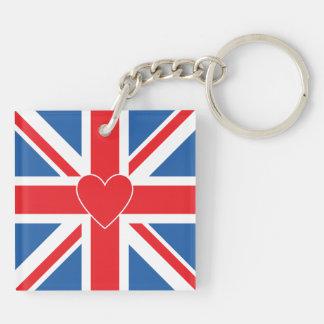 Union Jack Flag & Heart Key Ring