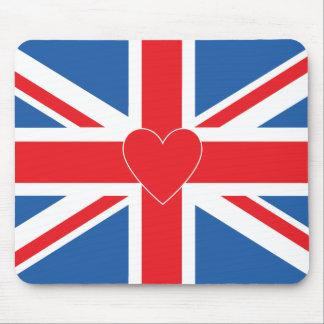 Union Jack Flag & Heart Mouse Mat