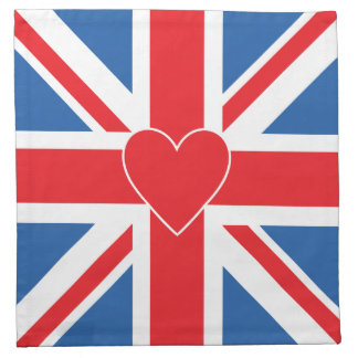 Union Jack Flag & Heart Napkin