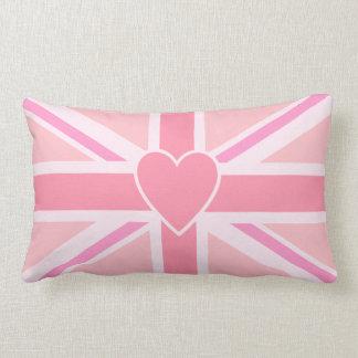 Union Jack Flag & Heart Pinks Lumbar Cushion