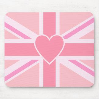 Union Jack Flag & Heart Pinks Mouse Mat