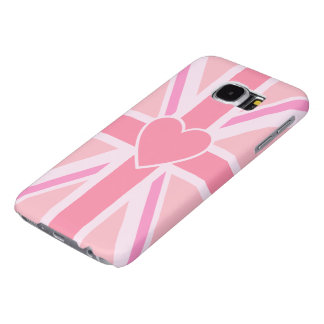 Union Jack Flag & Heart Pinks Samsung Galaxy S6 Cases