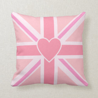 Union Jack Flag & Heart Pinks Throw Pillow