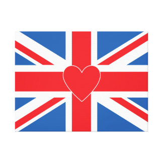 Union Jack Flag & Heart Rectangle Canvas Print