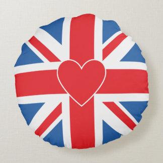 Union Jack Flag & Heart Round Cushion