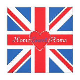 Union Jack Flag, Home Sweet Home & Heart Canvas Print