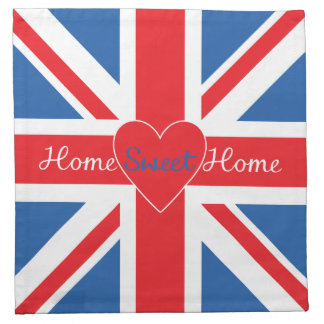 Union Jack Flag, Home Sweet Home & Heart Napkin