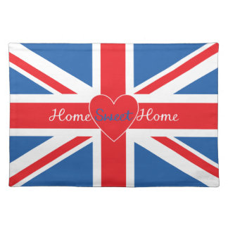 Union Jack Flag, Home Sweet Home & Heart Placemat