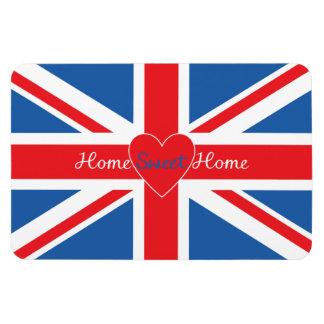 Union Jack Flag, Home Sweet Home & Heart Rectangular Photo Magnet