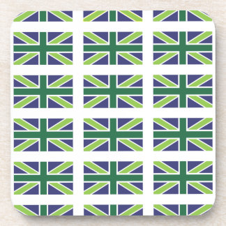 Union Jack Flag in Green Coaster set of 6