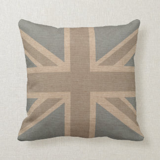 Union Jack Flag in Pale Blue and Grey Throw Pillow
