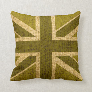 Union Jack Flag in Rustic Green Cushion