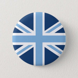 Union Jack Flag in Sky and Navy Blue 6 Cm Round Badge