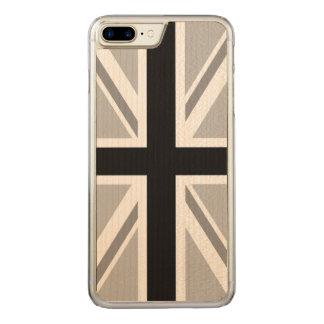 Union Jack/Flag Monochrome Carved iPhone 8 Plus/7 Plus Case