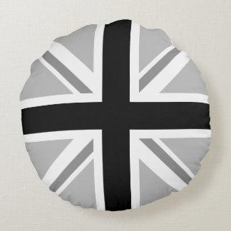 Union Jack/Flag Monochrome Round Cushion