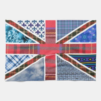 Union Jack Flag of Tartan & Fabric Patterns Tea Towel