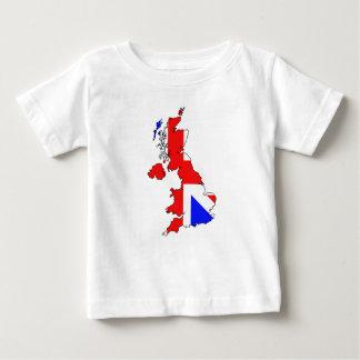 Union Jack Flag on British Map Babies T-Shirt