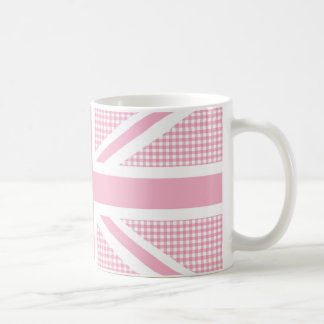 Union Jack Flag Pastel Pink Gingham Pattern Coffee Mug