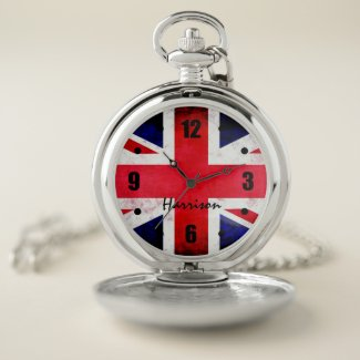 Union Jack Flag Personalized Face Pocket Watch