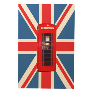 Union Jack/Flag & Phone Box Wood Wall Art